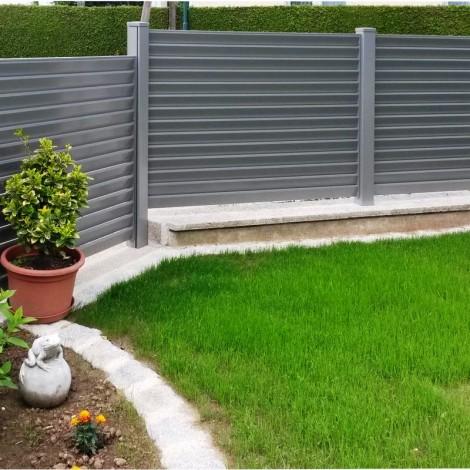 Zaun und Tor aus Aluminium Modell Lamello
